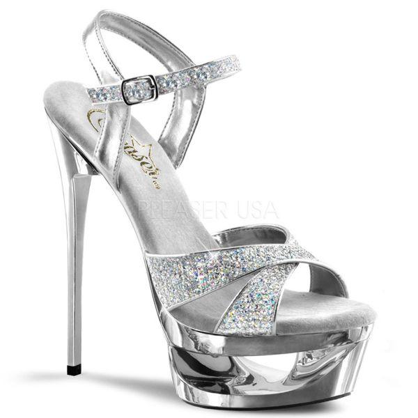 Silberne Multiglitter High-Heel Sandalette mit Plateau im Cut-out-Design ECLIPSE-619G